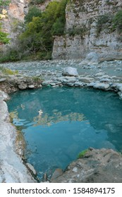 Pool made by creating piles of stones to isolate the water from falling creating on the natural hot water springs in Benje , Permet Albania