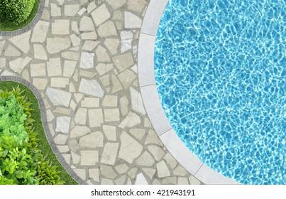 pool in mediterranean garden architecture in top view