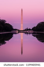 The Pool of the National Mall with the Silohuette of Washington Monument