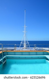Pool on cruise ship bow. Scenic view on sea