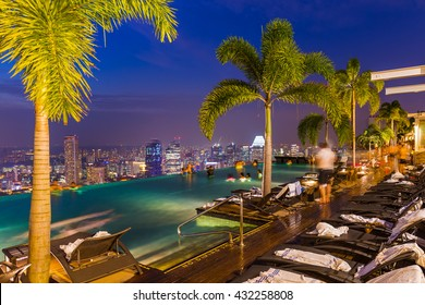 Pool on roof and Singapore city skyline - architecture and travel background