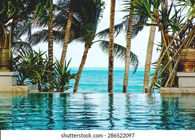 Pool on a tropical beach - vacation background, Koh Samui, Thailand