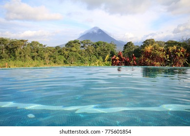 Pool overlooking Arenal Volcano in Costa Rica