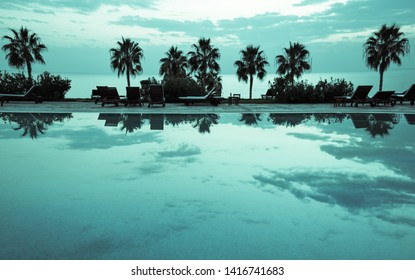 Pool, palm trees, resort and relax. Romantic view of the place of rest