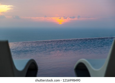 Pool with sky at sunset