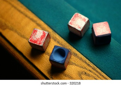 Pool Stick Chalk on Table