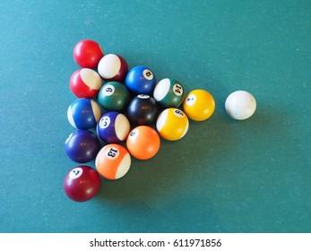 Pool table with pool balls