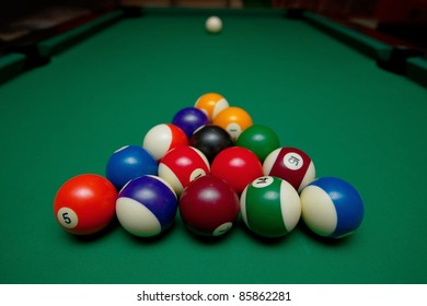 Pool table set up for beginning
