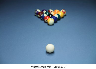 Pool table. Shallow DOF on the white ball