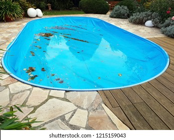 Pool with tarpaulin in winter cover
