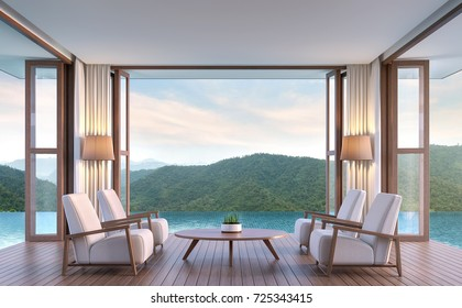 Pool villa living room with mountain view 3d rendering image.The living room floats above the pool. Inside is a wooden floor the doors are open on all sides. Touch nature closely.