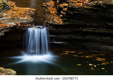 Pool of water with water fall, surrounded by fallen autumn leaves