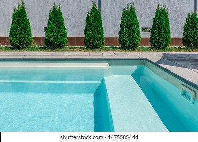 Pool water filtration system. Pure water. View from above.