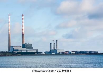 Poolbeg Generating Station in Dublin city bay