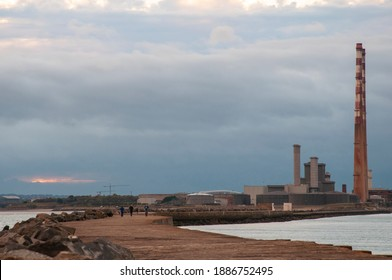 POOLBEG, IRELAND - OCTOBER 19, 2014: Poolbeg Generating Station as seen from the poolbeg sea wall.