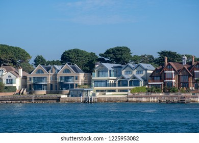 Poole Dorset UK - 20 October 2018:  Row of luxury Houses at Sandbanks Poole