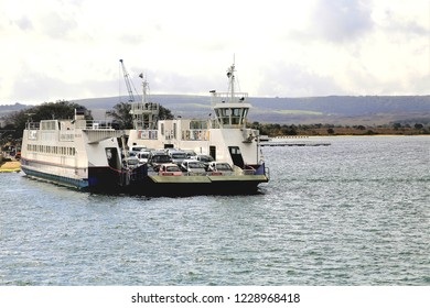 Poole, Dorset, UK. October 01, 2014.  The chain ferry leaving the Isle of Purbeck to Sandbanks at Poole in Dorset, UK.