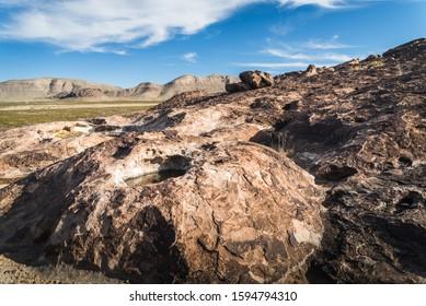 Pools of water in huecos at Hueco Tanks in El Paso, Texas.
