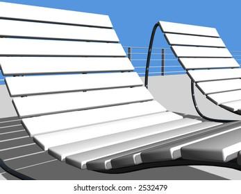 Poolside beds 3D render