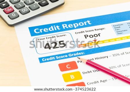 Poor Credit Score Report Pen Calculator Stock Photo Edit Now