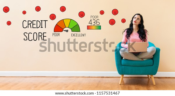 Poor Credit Score with young woman using a laptop computer