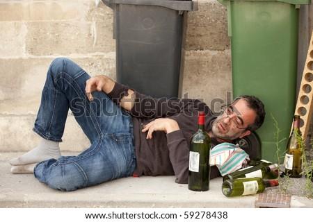 Poor Drunk Man Lying On Sidewalk Stock Photo Edit Now 59278438
