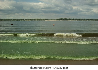 Poor ecology, dirty green water on the Volga river (Russia) because of the hydroelectric power stations built on the Volga