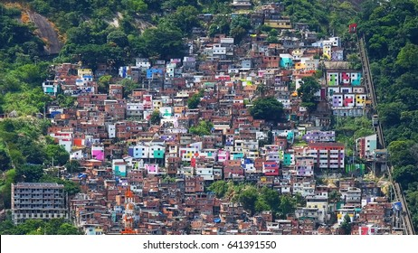 Poor favela located at the hill of Rio de Janeiro. Brazilian slums