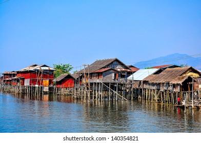 Poor floating houses on Inle lake, Myanmar  Burma