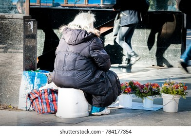 Poor hungry old woman selling flowers at the street to earn money for life and food view from back