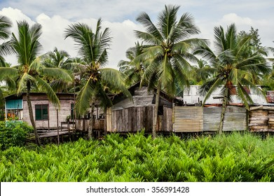 Poor huts of the natives, traditional indonesian poor house. New guinea, Indonesia