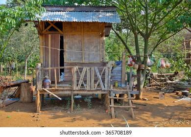 poor lao village houses in rural life, Laos