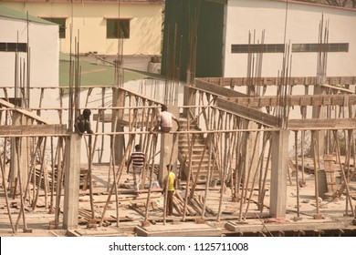 poor men are working on the rooftop for only live , 3july,2018,dhaka,Bangladesh