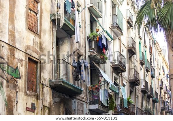 Poor neighborhood in Barcelona