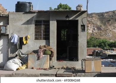 poor peoples homes around jaipur city of rajasthan india