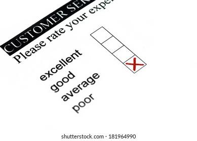 Poor rating at customer survey.