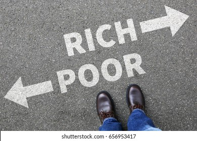 Poor rich poverty finances financial success successful money business concept finance
