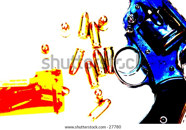 Pop Art of .45 cal bullets comming out of pill bottle a .45 cal hand gun