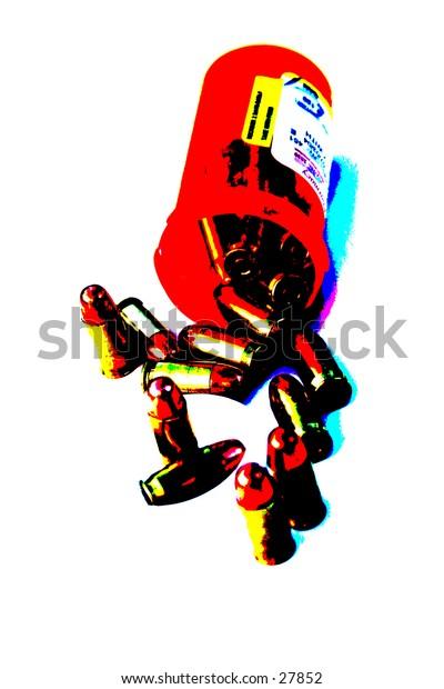 Pop Art of .45 cal bullets comming out of pill bottle