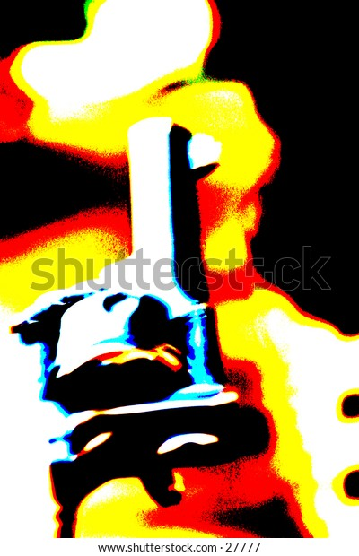 Pop Art of .45 cal hand gun with a colorful out of focus background