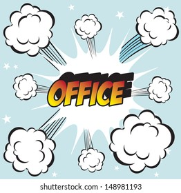 pop art background office stamp with the word with word office