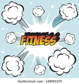 pop art background office stamp with the word with word FITNESS