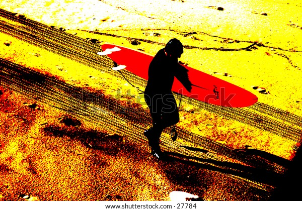 Pop art of a black surfer silouette with a red surfboard walking along a yellow and orange beach