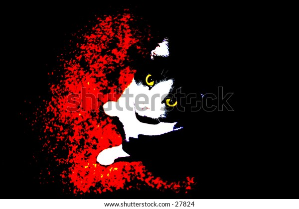 pop art of a black and white cat on a red background