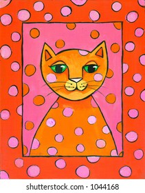 Pop Art Cat Illustration Pink and Orange