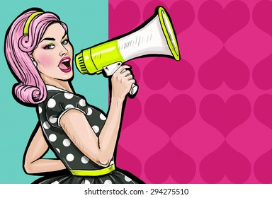 Pop art girl with megaphone. Woman with loudspeaker. Lady announcing discount or sale. Shopping time. Protest, meeting, feminism