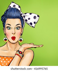 Pop Art illustration of girl showing hand. Vintage  advertising poster or flayer of comic surprised  woman with big bow