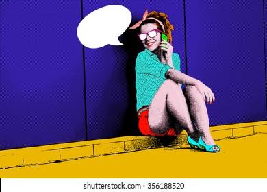 Pop art illustration of girl talking on cellphone