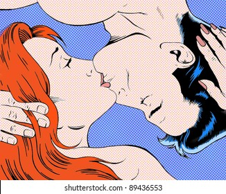 Pop art illustration kissing couple
