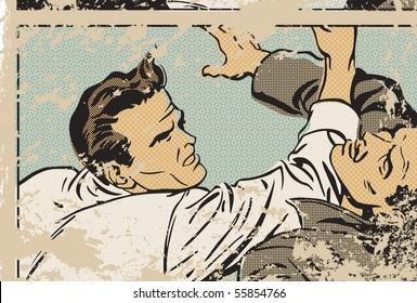 Pop art illustration of men fighting